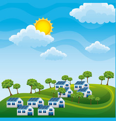 natural landscape hills houses panel solar trees - vector image