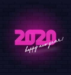 Neon light sign - 2020 new year logo vector