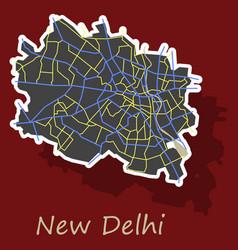 new delhi map sticker style design vector image