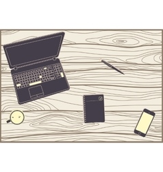 Office subjects on a wooden table vector image