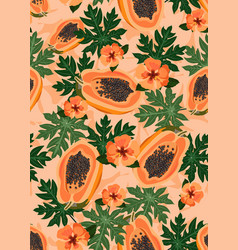 papaya fruits seamless pattern on pastel orange vector image