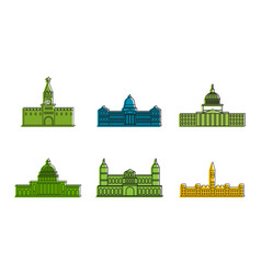 Parliament icon set color outline style vector