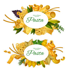 Pasta promo symbols with tasty italian products vector