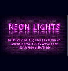 pink neon font on brick wall vector image