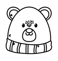 polar bear with scarf merry christmas card thick vector image