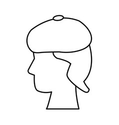 Profile head human with hat vector
