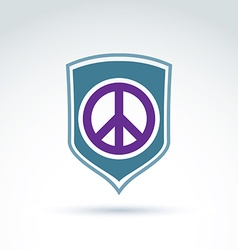 Round antiwar icon on a shield global peace vector