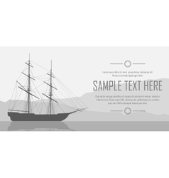 Sailing ship over huge mountains vector
