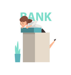 Scared manager standing at reception desk at bank vector