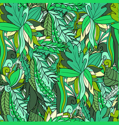 seamless pattern with abstract leaves and flowers vector image