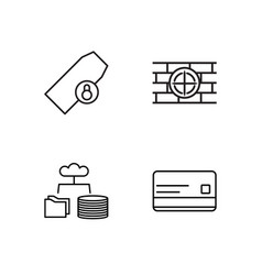 Security outline icons set vector