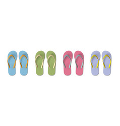 set colored flip flops - summer beach slippers vector image