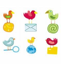Set of birds icons vector