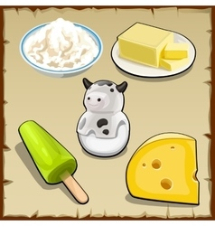 Set of products from milk curd cheese and more vector image