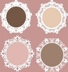 Set of round vintage lacy frames vector