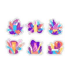 set of stickers hand drawn design vector image
