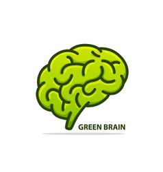 silhouette brain green vector image