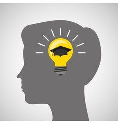 Silhouette head boy idea cap graduation education vector