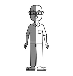 Silhouette old man with glasses shirt and pants vector