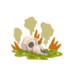 Skull bone in a swamp toxic waste ecological vector