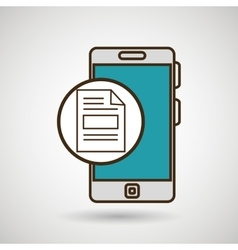 smartphone blue document isolated icon design vector image
