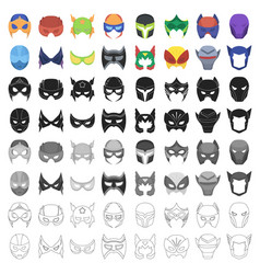Superhero mask set icons in cartoon style big vector