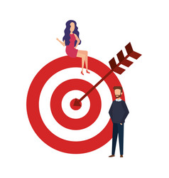 target with arrow and business couple vector image