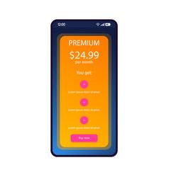 Tariff plan smartphone interface template vector