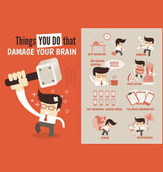 Things you do that damage your brain vector