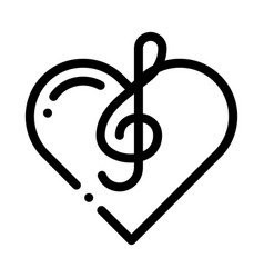 Treble clef and heart song element icon vector