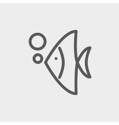 Tropical fish thin line icon vector image
