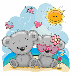 Two bears on the beach vector