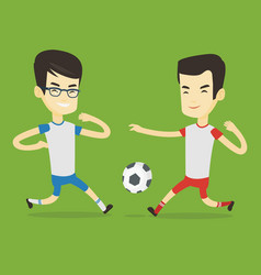 two male soccer players fighting for ball vector image