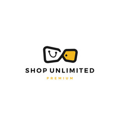 unlimited shop shopping bag sale discount tag vector image