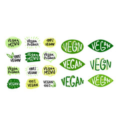 vegan logos and icons set 2 vector image