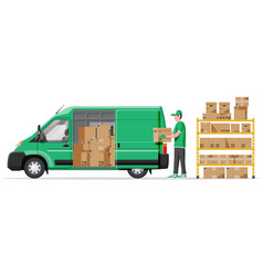 Warehouse shelves with boxes van and mover vector