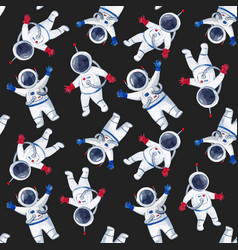 Watercolor astronaut pattern vector