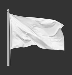 White flag waving in wind on flagpole vector