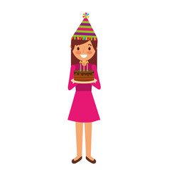 woman with party hat holding birthday cake vector image