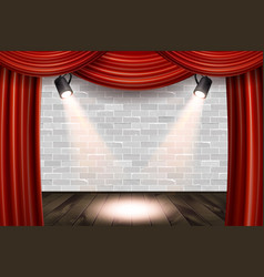 wooden stage with red curtains vector image