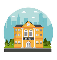 Yellow building school tree skyline design vector