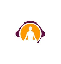 Yoga podcast logo icon design vector