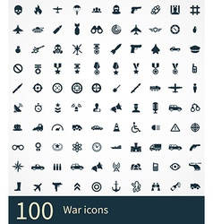 100 war icons set vector image vector image