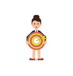 business woman holding big aim target bravely vector image vector image