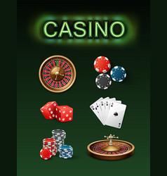 casino gambling attributes vector image vector image
