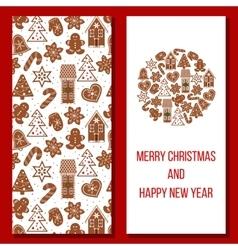 Christmas card cozy xmas gingerbred greetings vector