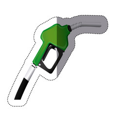 color sticker silhouette with gasoline pump nozzle vector image
