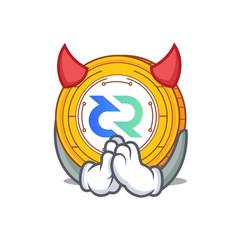 devil decred coin mascot cartoon vector image vector image