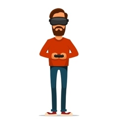 Gamer with Gamepad and Virtual Reality Headset vector image