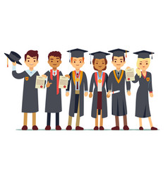 graduation concept with students college vector image